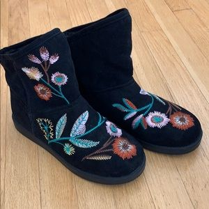 indigo rd faux suede embroidered boots